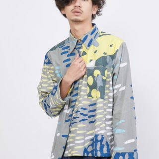 One side pleat men's shirt-Early morning sea level