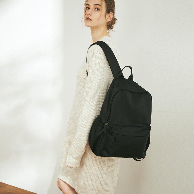 Amina 防潑水尼龍 後背包 +3號內袋【黑】