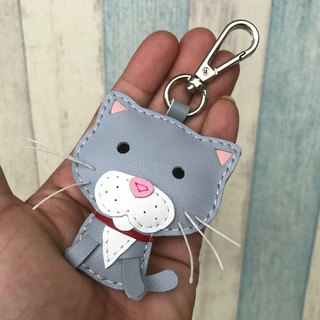 Handmade Leather Taiwan MIT Light Gray Cute Kitty Hand Sewn Leather Keychain
