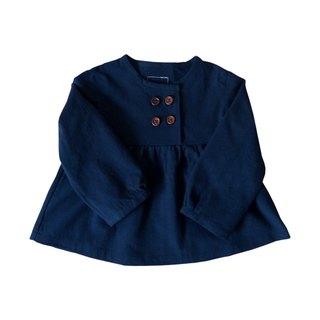 Little Girls Navy Blue Gathered Blouse Long Sleeve - 100% Cotton - Handmade Children's Clothes