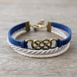 Brass double-infinity in Navy blue / Light gray / Cream