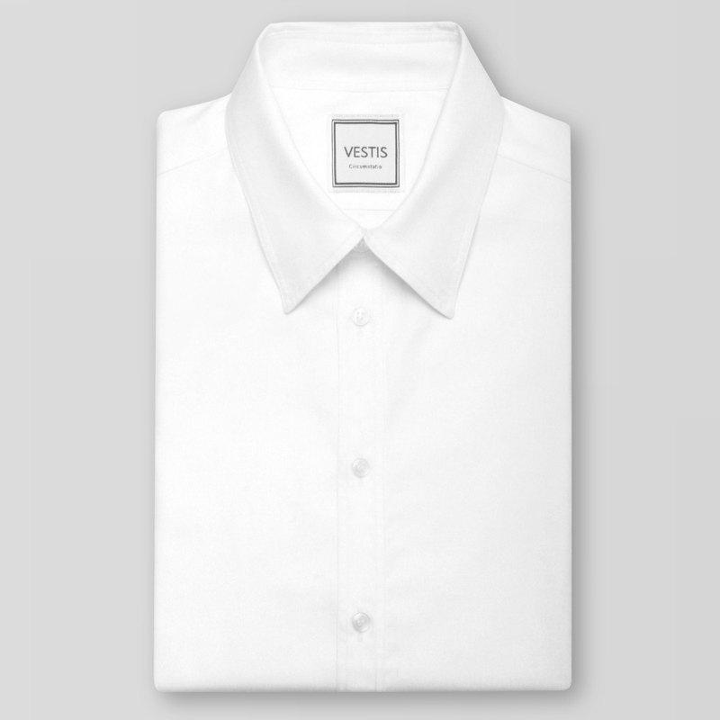 簡約白男性商務休閒襯衫 - 合身版/歐洲進口100%純棉面料