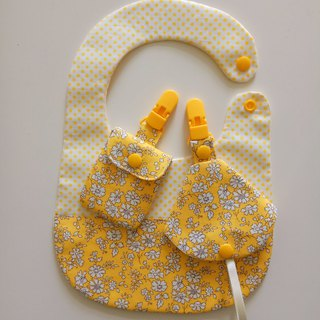 Baby yellow flower gift baby bib + peace bag + combo pacifier folder