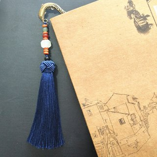 Dolphin play beads - blue tassel Chinese style bookmark national wind gift