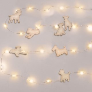 Schnauzer star hanging wall lamp wall decoration + universal wood card (light length 5 meters USB power supply)