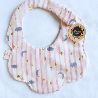 Star Moon Cloud Pink Stripe - Bronzing - Eight Layers of 100% cotton casual arc shape bib. Saliva towel