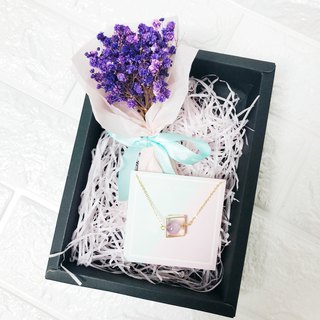 Purple Stone baby Breath Dry Flower Box bouquet Necklace  Birthday Bridesmaid