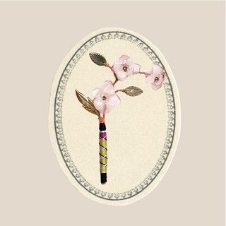Portable scenery - pin - pink gold flower branches