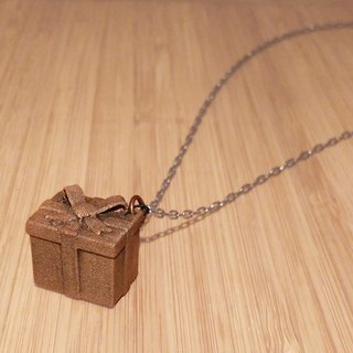 Gift box pendant with metal necklace
