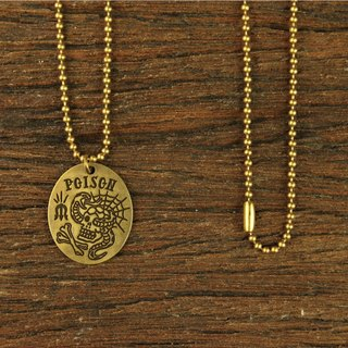 """POISON"" Brass Necklase ""POISON"" brass medallion necklace"