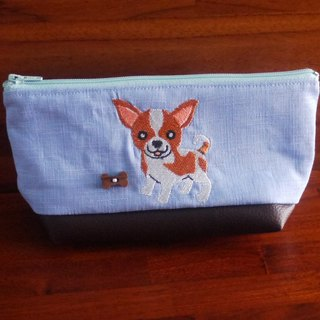 Chihuahua custom embroidery pencil bag bag 10 color (free embroidered English name please note)