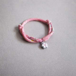 Japanese kimono dog collar & cat collar【Adjustable】Pink & White Sakura Bell_S size
