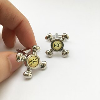 Hot and cold faucet switch cufflinks HOT COLD WATER TAP CUFFLINKS
