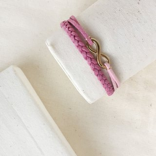 Handmade Double Braided Infinity Bracelets Rose Gold Series–berry purple limited