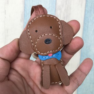 Leatherprince Handmade Leather Taiwan MIT Brown Cute Poodle Hand-sewn Leather Charm Small size small size