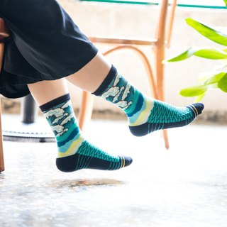 [Sea wave sea life] / Sports / tube socks (blue green)