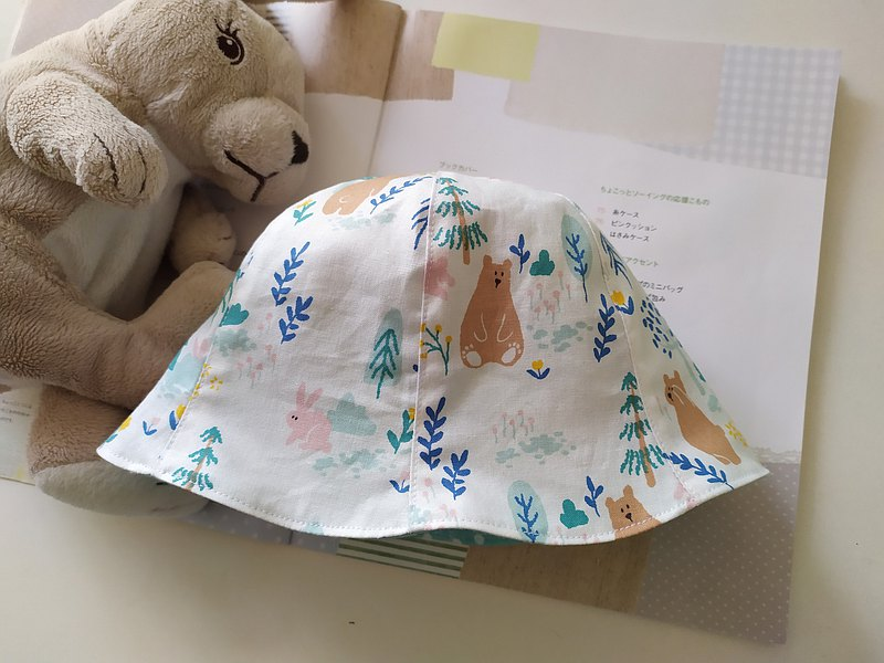 Double-sided six-piece hat bear daily flannel full moon gift fisherman hat baby hat double-sided hat