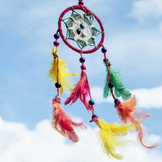 Boho ethnic style hand-woven cotton and linen rainbow color dream catcher - red and green mandala (small)