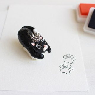 Black cat hand engraved rubber double meat ball seal I hand made JX PearlCatCat joint limited