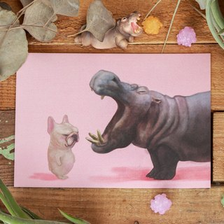 Magger meets hippo / postcard