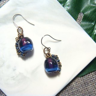 Grapefruit Lin handmade glass - Night listening to rain - Summer night - Earrings (can be free of price change)