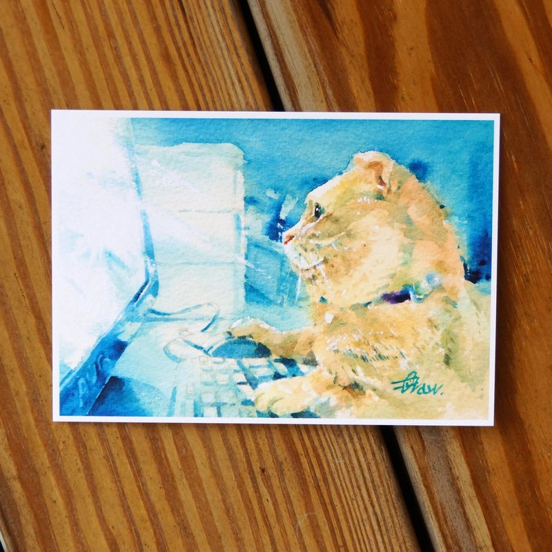Watercolor Painted Hair Boy Series Postcard - Night Cat House