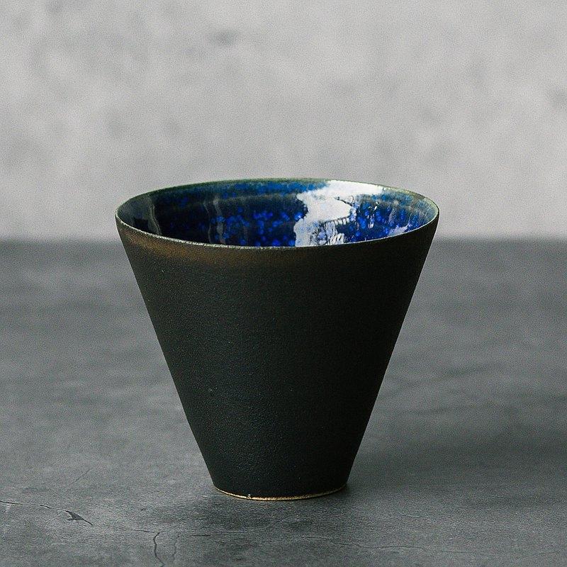夜幕星河 - 寶藍結晶+曜黑雙釉 薄胎清酒杯/單品茶杯