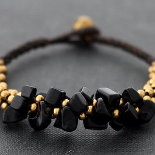 Black Onyx Woven Bracelets Chunky Braided Stone Bracelets Bangle
