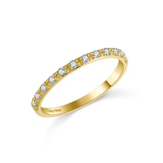 【PurpleMay Jewellery】 18k Yellow Gold Eternity Natural Diamond Ring R001