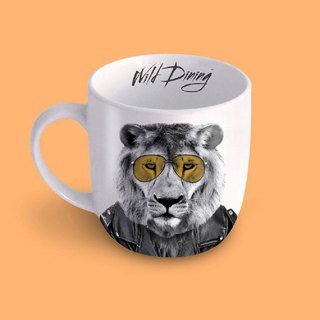 British Mustard Animal Mug - Male Lion