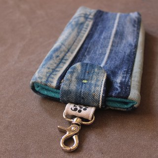 Cloth hug remade series - tannins second-hand jeans splicing mobile phone bag