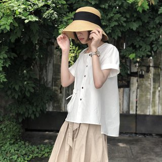 Japanese round neck short-sleeved shirt | shirt | cotton | independent brand |Sora-155