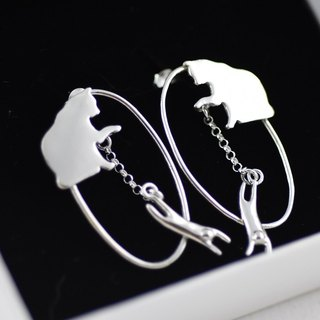 Cat Slave Life Earrings (Purple Silver Earrings Cat Silver) ::C% Handmade Jewelry::