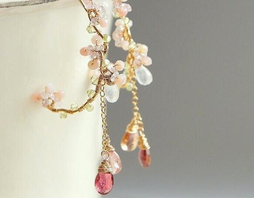 Cherry Blossoms Pink Tourmaline Chandelier Hoop Earrings 14k gold filled