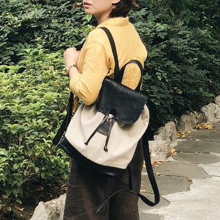 Small travel leather backpack / linen leather 15 吋 notebook