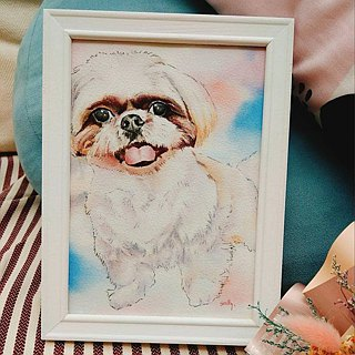Custom pet character realistic watercolor illustration with box