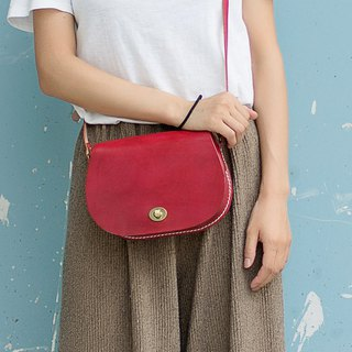[tangent pie] classic saddle bag handmade custom ladies leather bag Messenger bag round leather bag
