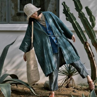 Smoke Green robe | Indigo Natural Plant Blue dyed Japanese style Bandwidth loose Long coat Men and women The same paragraph