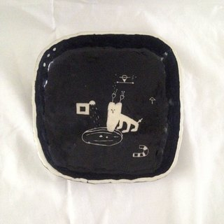 Black and white porcelain plate - feel ceramic illustration plate