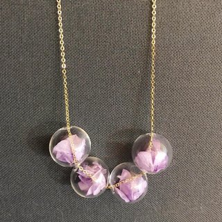 Preserved Flower Planet Ball Pastel Purple Necklace Birthday Wedding Bridesmaid gift