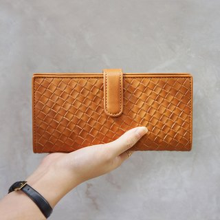 Double buckle woven long clip - caramel