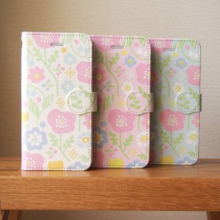 Notebook type phone case - Spring Pastel Flowers -