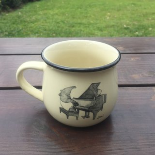 Malay 貘 illustration ceramic coffee cup - Piano playing piece rice white