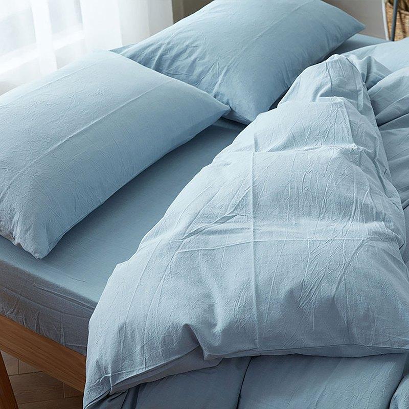 淺水藍 水洗棉 標準雙人四件組床包(台灣尺寸)