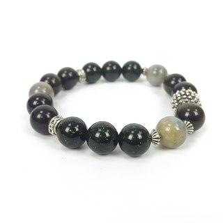 [Fluorescent] natural stone retro old beaded bracelet couple gold stone green sandstone moonstone