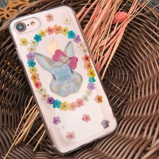 iPhone 7 Dry Pressed Flowers Case Colourful Rabbit Flowers case 002
