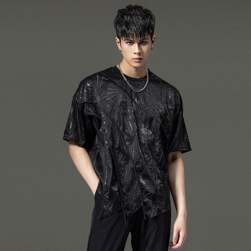 PINLI品立裁魂春季設計感男裝暗黑修身印花男短袖襯衫