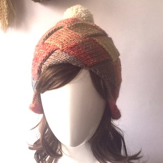 Honest face ear warm roll curling wool cap candy color