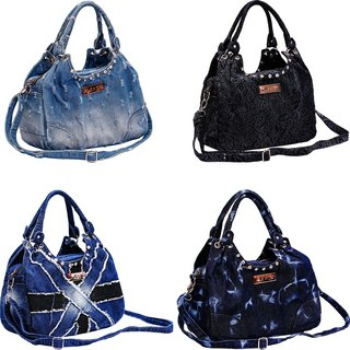 One-shoulder denim tide wash handbag