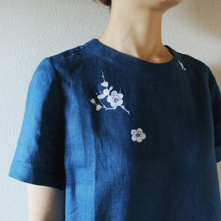 Linen · short sleeve one piece dress blue <white plum>